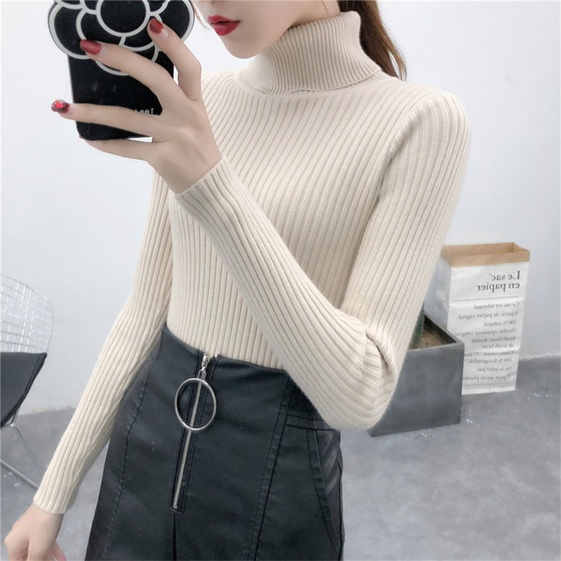 19 Women Sweater casual solid turtleneck female pullover full sleeve warm soft spring autumn winter knitted cotton 4
