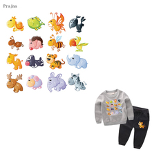 Prajna Cute Tiger Animals Iron On Patches Cheap Cartoon Heat Transfers Hot Vinyl Thermal Transfers For Kids Clothing Stickers(China)