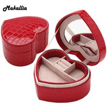 Wedding storage box crocodile pattern leather creative jewelry box pu heart-shaped jewelry small jewelry box birthday gift(China)
