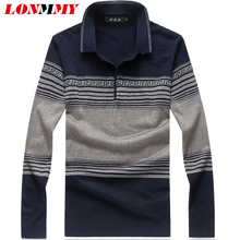 LONMMY M-7XL 8XL Striped sweater men Wool Tencel men's pullover sweaters Straight Casual mens pullover Lapel collar winter 2017(China)