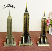 Vintage Metal Crafts Retro American Empire State Building Model Figurines For Home Decoration E397(China)