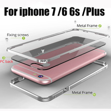 For apple iPhone 6 Cases Cover Aluminum Frame For iPhone6 6S 7 Plus phone Case Clear covers Coque For iphone 7 Metal Bumper