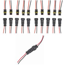 10x Car Auto 2 Pin Way Sealed Waterproof Electrical Wire Connector Plug Socket