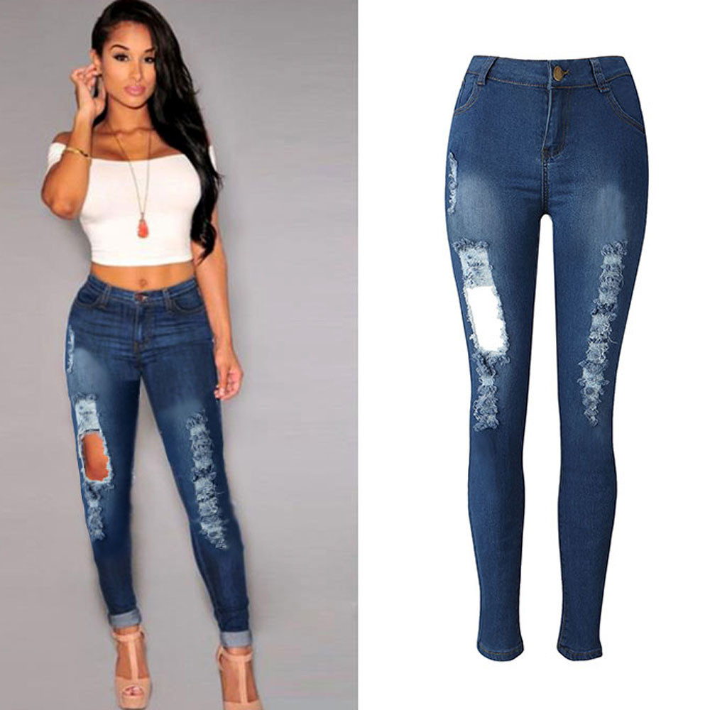 Fashion Casual 2017 Womens Vintage Skinny Denim Jeans High Waist Ripped Pencil Jeans Stretch Hole Pants Sexy Girls Trousers XXLОдежда и ак�е��уары<br><br><br>Aliexpress