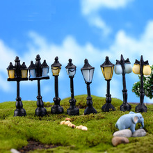 Miniature, Artificial Mini Vintage Streetlight Lamp Micro Landscaping Decoration Small World Plastic Craft DIY Accessories
