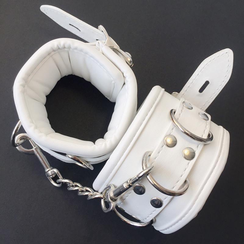 White SM PU Leather Retro Adjustable Handcuffs Restraints Ankle Cuff Restraints BDSM Bondage Slave Adult Sex Toys for couple 2