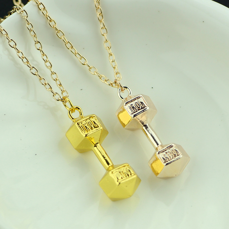 KEFENG Fashion Women Dumbbell Shape Pendant Necklaces Girl's Chain Necklaces Amulet Jewelry Lucky Charm Alloy Accessories