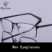 DRESSUUP 2017 Newest Fashion Square Clear Glasses Frame Alloy Frame Male Vintage Brand Designer Eyeglasses oculos de grau