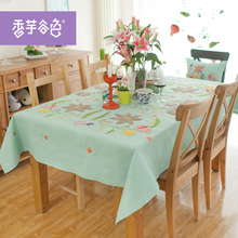 Light blue Chinese Tranditional Embroidered Flowers Round Tablecloth High Quality Cotton Tablecloth Home Use Tablecloth