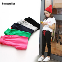 RAINBOW BUS Spring Autumn 100% Cotton Kids Pants Boys Girls Casual Sports Pants 5 Colors Kids Sports Trousers Pencil Pants Hot