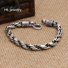 42G Alibaba Express 925 Sterling Silver Jewelry Bracelets for Women Men Vintage S925 Solid Thai Silver Chain Bracelets(China)