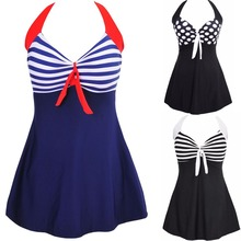 Sexy Plus Size Stripe Padded Halter Skirt Swimwear Women One Piece Suits Swimsuit Beachwear Bathing Suit Swimwear Dress M To 4XL