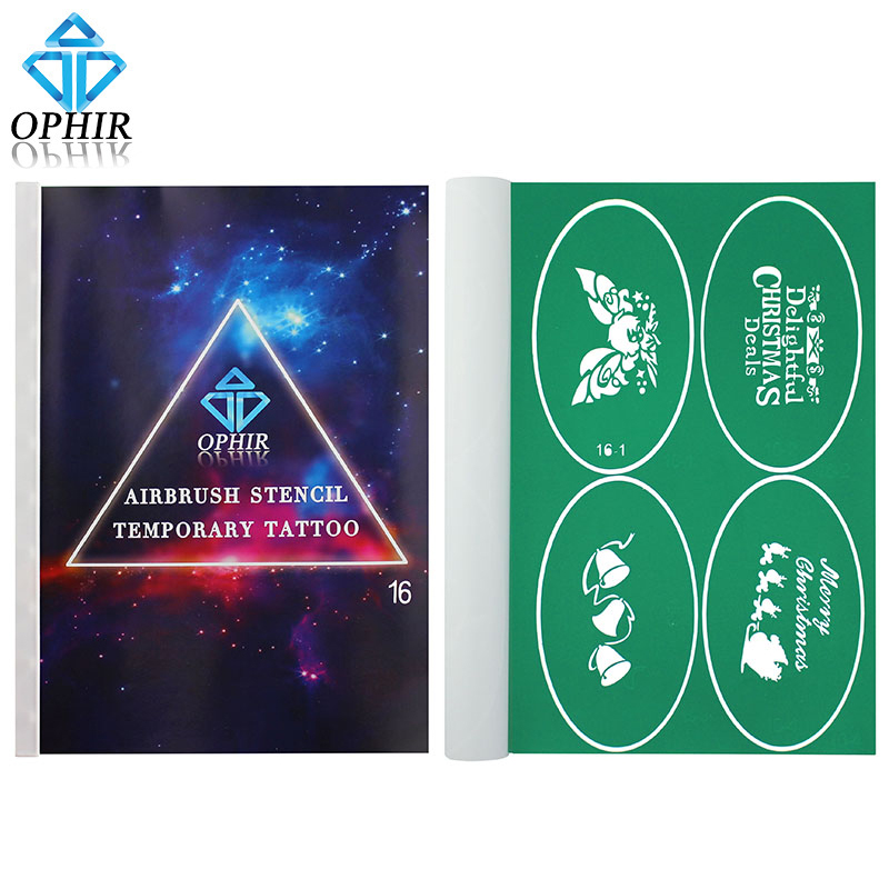OPHIR 100x Pattern Airbrush Stencils Christmas Glitter Tattoo Temporary Tattoo Body Paint Templates for Children_STE16<br>
