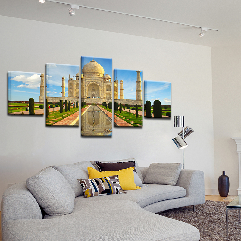 Modern-Abstract-5-Panel-Taj-Mahal-Reflection-Landscape-Picture-Painting-On-The-Canvas-For-Frames-Drop (2)