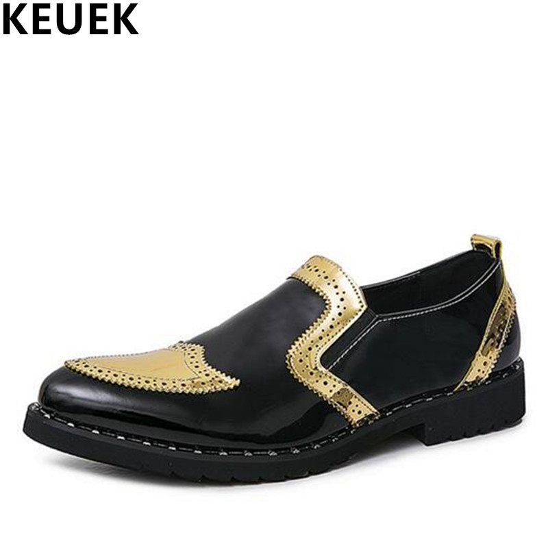 Pointed toe Men Casual Leather shoes Breathable Slip On Fashion Brogue Shoes Spring Male Oxford Flats Wedding shoes 01B<br>