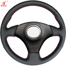 XUJI Black Leather Car Steering Wheel Cover for Toyota RAV4 2003-2005 Lexus IS200 300 (No multi-function button) 2004 2005
