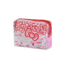 Hello Kitty Cute Cartoon Travel Wash Zipper Makeup Bag Transparent Hand Bag Bag Package Pvc Makeup Organizer Storage Box