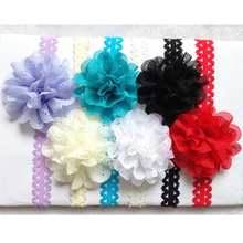 Free Shipping 300pcs Wholesale Baby Girl Infant Hair eyelet Chiffon lace Flower with lace Headband children accessories(China)