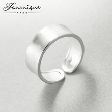 925 Sterling Silver Minimalist Jewelry Chunky Silk Face Ring Adjustable Couple Ring Jewelry(China)
