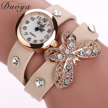 Duoya Vogue Luxury Brand 2017 Women Watches Crystal Butterfly Bracelet En Cuir Montre-Bracelet Analog Quartz Watch Retro(China)