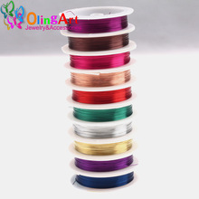 OlingArt 0.3MM 20M/Roll Copper Wire mixed multicolor plated Beading Wire Jewelry Findings DIY Jewelry Accessories Cord/String