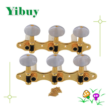 Yibuy Classical Guitar HeavyTuners Machine Heads Golden plated Pearled Pegs(China)