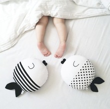 Black White Cartoon Fish Pillow Toys Baby Kids Boys Girl's Plush Toys Kids Christmas Gifts(China)
