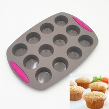 30*20.8*2.8CM 186G Double Color Twelve Small Round Cup Cake Mold 3D Silicone Cake Mold Baking Tools For Bakeware Free Shipping(China)