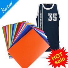 Kenteer heat transfer vinyl  hot sale cutting size with 25*30cm size 12colors one lot for jersey