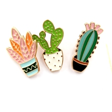 wholesale 12pcs/ lot costume jewellery bag jean hat accessories metal enamel plant cactus pin collar brooch button badge