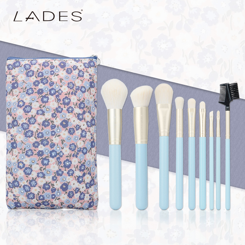 Blue Ice 9 Makeup Brush Plant Fiber Wool Makeup Kit with A Cosmetic Bag<br>