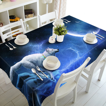3D Tablecloth Merry Christmas Starry Sky Space Wolf Pattern Waterproof Cloth Thicken Rectangular and Round Wedding Table Cloth(China)