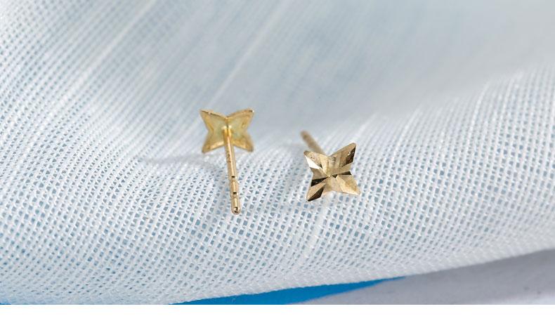 HTB1T XMRpXXXXbnXXXXq6xXFXXX5 - SILVER AGELESS 9K Yellow Gold Rhombus Stud Earrings for Women Fine Jewelry 2017 New Arrival