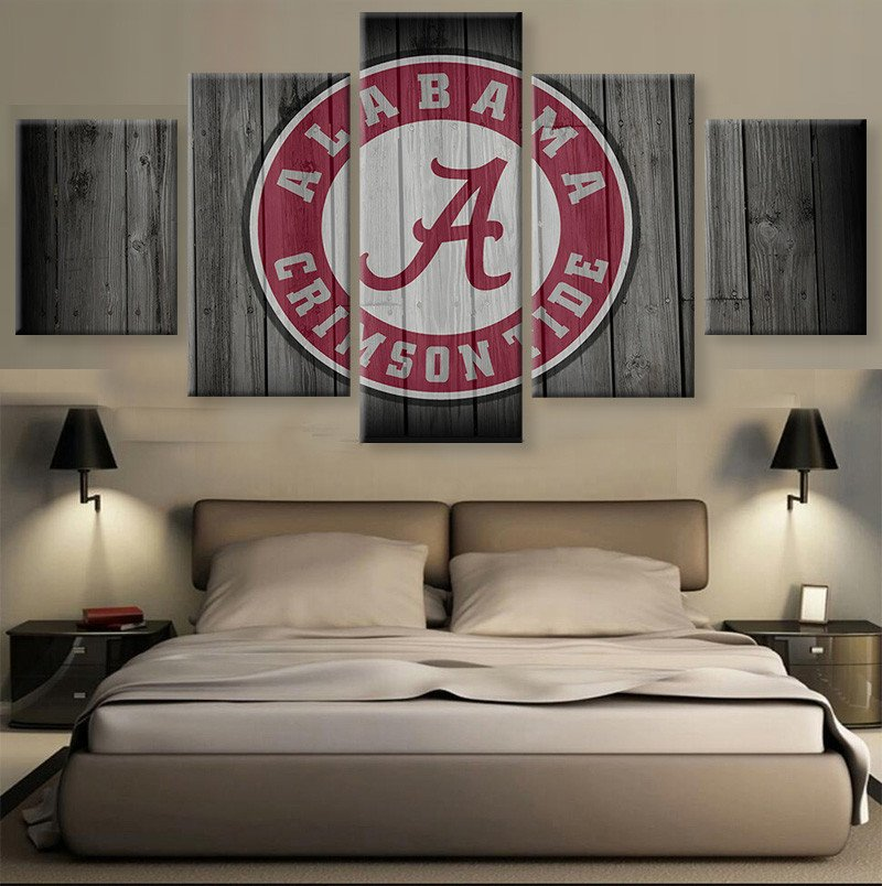 2017 Hot sale HD print 5 pcs Canvas art alabama Football Sport painting on canvas modern home decor Wall Art painting Picture(China (Mainland))