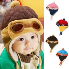 4 Colors Lovely Autumn Winter Toddlers Warm Cap Hat Beanie Cool Baby Boy Girl Kids Infant Winter Pilot Cap Children Kids Hat(China)