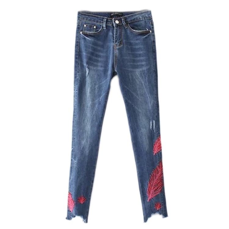 In the spring of 2017 new European style fashion all-match jeans feather embroidery slim slim stretch jeans womenÎäåæäà è àêñåññóàðû<br><br>