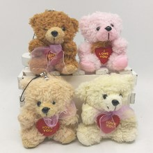 40pcs x8cm Plush Cotton velveteen Teddy Bears With LOVE HEART and scarf Small Doll House Craft Sitting Bear(China)