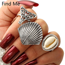 Find Me 2018 Gypsy Vintage Boho Punk Shell Mosaic Rings Unique Carved Antique brand Totem 3pcs/set Lucky Rings For Women Jewelry(China)