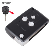 KEYYOU With LOGO 3 Button Modify Flip Folding Remote Car Key Replacement Case FOB Shell For LADA Free shipping