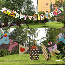 Happy Party/Birthday Paper Flag Party Site layout Garland Decoration Banner Bunting For kids Birthdays wedding Party Supplies