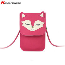 Fashion Women Small Handbags Cartoon Fox Umbrella Pattern Messenger Bags PU leather Small Crossbody Bag Shoulder Phone Pouch