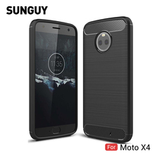 For Motorola Moto X4 Case, SUNGUY Ultra Thin Carbon Fiber Shockpoof Scratch Resistant TPU Silicone Cove Case for Moto X4 Case(China)