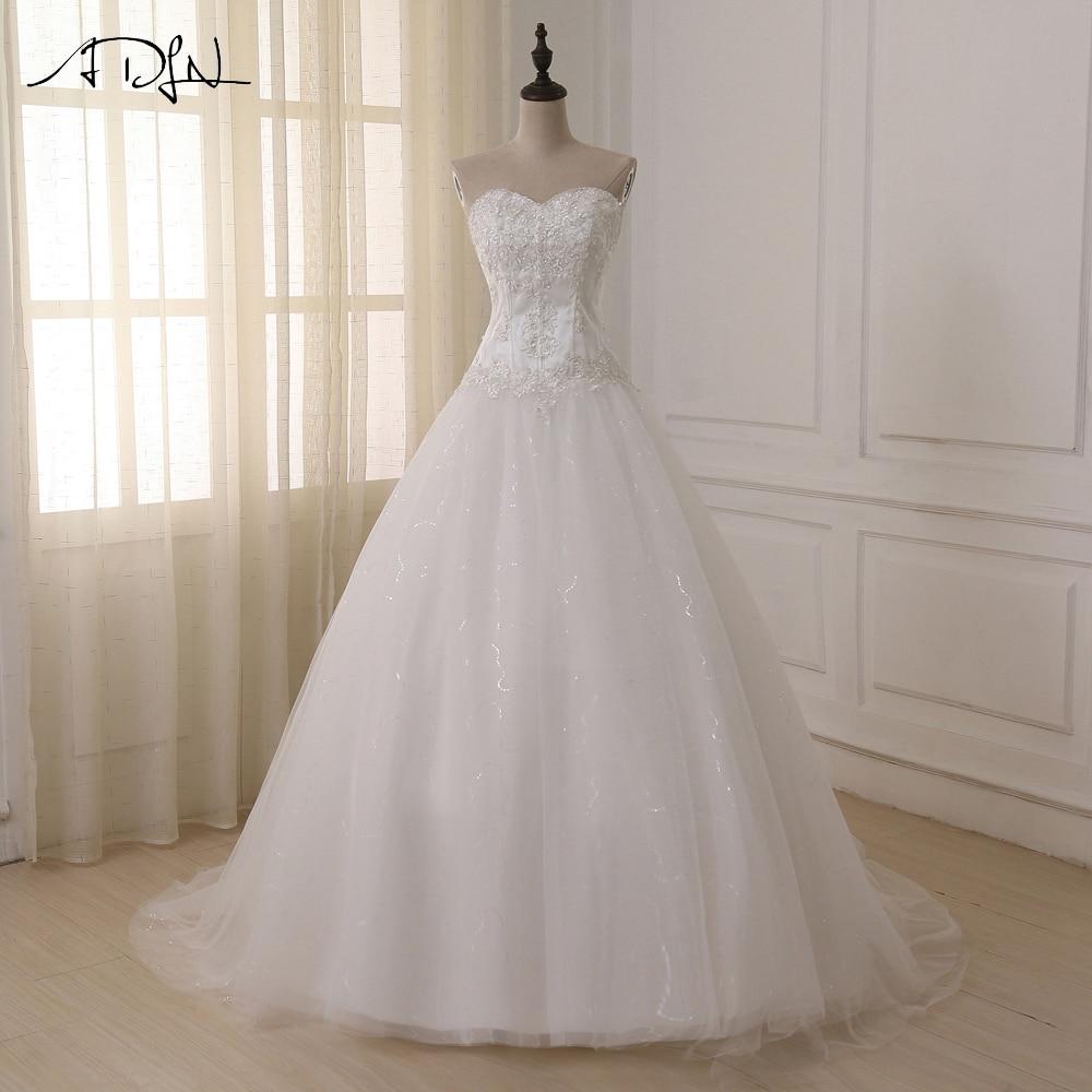ADLN Wedding Dresses Vestidos de Novia Off the Shoulder Sweetheart Tulle Long Bride Dress Lace Up Back Plus Size In Stock 4