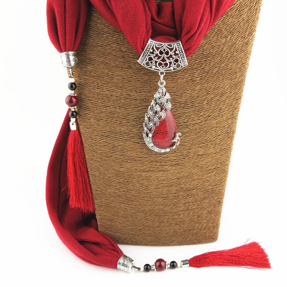 Scarf Pendant Necklace Nature Stone pendant necklace Fringe tassel