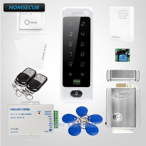 HOMSECUR Silver Door Lock Anti-Vandal RFID Access Control System With 0-255s Adjustable Opening Time Function(China)