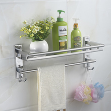 MTTUZK Free shipping DIY 304 stainless steel bathroom shelving bracket monolayer towel bar with hooks with pendan Makeup rack(China)