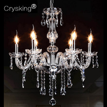 Crystal Chandelier Modern 6 Arm Lustres de Cristal Living Room Lighting Indoor Lamp Luminaria, for Home Bar Cafe Christmas Decor