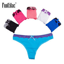 Buy FUNCILAC Underwear Women Lace Thong Sexy G String Ladies Panties Girls Bow Underpants Briefs Women Cotton Lingerie 5Pcs/Lot