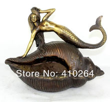 FREE SHIPPING [Nice Discount ] Free Shipping China Mermaid statue* bronze * Conch Ashtray