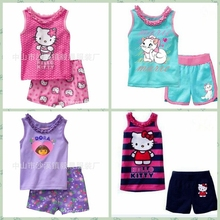 High Quality Hello Kitty Striped Clothing Set Kids Girls Cotton Cartoon Printed Vest Pyjamas Suit Design Available
